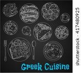 menu of greek cuisine with... | Shutterstock .eps vector #417480925