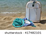 suitcase  turquoise hat ... | Shutterstock . vector #417482101