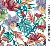 seamless tropical flower  plant ... | Shutterstock . vector #417483589