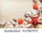 Sea Shells And Starfish With...