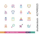set baby universal icons with... | Shutterstock .eps vector #417490315