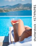 woman relaxing at the infinity... | Shutterstock . vector #417496981