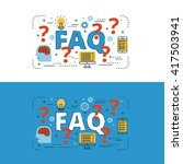 faq lettering flat line design... | Shutterstock .eps vector #417503941