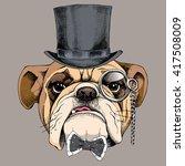 bulldog portrait in a bowler... | Shutterstock .eps vector #417508009