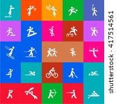 sports icons set. white and... | Shutterstock .eps vector #417514561