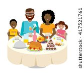 happy multicultural family... | Shutterstock .eps vector #417521761