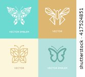Stock vector vector set of abstract logo design templates and emblems butterfly silhouette made with leaves 417524851