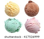 Stock photo four ice cream scoops isolated on a white background including vanilla chocolate mint and 417526999