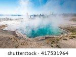 Blue Geyser Pool At Yellowstone ...