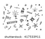 set of drawn old school tattoo... | Shutterstock .eps vector #417533911