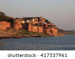 View of the ancient Ramnagar Fort from the river Ganges. The Ramnagar Fort of Varanasi was built in 1750 in typical Mughal style of architecture.