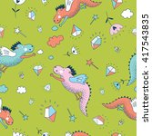 cute  funny vector  seamless... | Shutterstock .eps vector #417543835