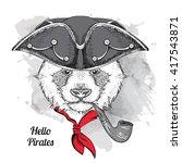 portrait of panda in pirate hat ...   Shutterstock .eps vector #417543871