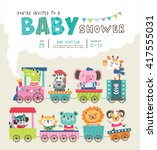 Stock vector baby shower invitation card with cute animals on train 417555031