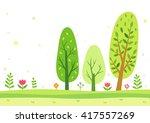 green trees in the summer | Shutterstock .eps vector #417557269
