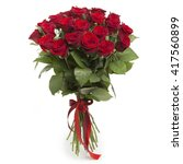 Stock photo bouquet of red roses on white background 417560899