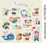 cute cartoon animals alphabet... | Shutterstock .eps vector #417563851