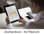 businessman at office holding a ... | Shutterstock . vector #417566131