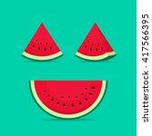watermelon slices vector... | Shutterstock .eps vector #417566395