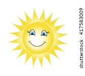 cartoon sun with blue eyes and... | Shutterstock .eps vector #417583009
