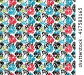 seamless flower pattern with... | Shutterstock .eps vector #417583165