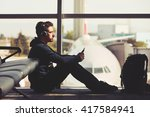 young traveler is waiting at... | Shutterstock . vector #417584941