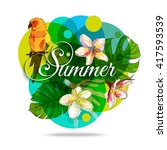 tropical background with... | Shutterstock .eps vector #417593539