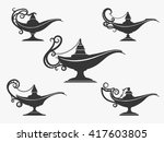 aladdin or genie oil lamp icons ... | Shutterstock .eps vector #417603805