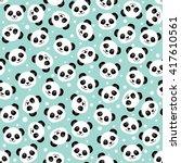 cute panda face. seamless... | Shutterstock .eps vector #417610561