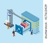 database storage flat 3d vector ... | Shutterstock .eps vector #417613429