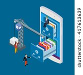 mobile storage flat vector...   Shutterstock .eps vector #417613639