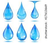 set of opaque light blue drops... | Shutterstock .eps vector #417613669