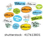 follow me  follow us labels set ... | Shutterstock .eps vector #417613831