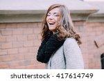 beautiful young women goes... | Shutterstock . vector #417614749