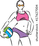 beach volleyball woman modeling ... | Shutterstock .eps vector #417627004