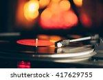 Turntable With Lp Vinyl Record...