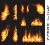 realistic fire flames effect ... | Shutterstock .eps vector #417636304