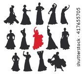 set of women in dress stay in... | Shutterstock .eps vector #417655705