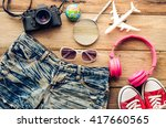 travel accessories and costume... | Shutterstock . vector #417660565