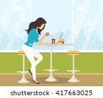 young woman working with laptop ... | Shutterstock .eps vector #417663025
