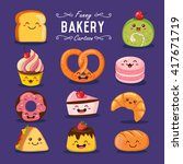 vector bakery and sweet cartoon ... | Shutterstock .eps vector #417671719