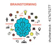 the concept of brainstorming ... | Shutterstock .eps vector #417675277