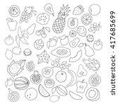 vector set of hand drawn fruit... | Shutterstock .eps vector #417685699