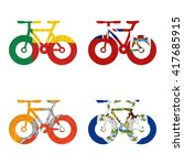 nation flag. bicycle recycled... | Shutterstock . vector #417685915