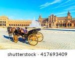 a closeup of a horse cart in... | Shutterstock . vector #417693409