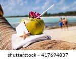 coconut cocktail starfish...   Shutterstock . vector #417694837