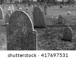 Weathered Gravestones In A...