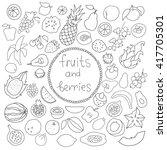 vector set of hand drawn fruit... | Shutterstock .eps vector #417705301