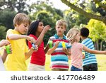playful children blowing... | Shutterstock . vector #417706489