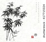 Bamboo Trees Hand Drawn With...